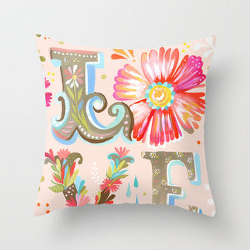 LOVE Throw Pillow by Katie Daisy | Society6