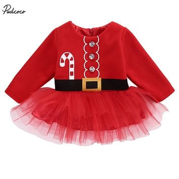 Pudcoco Christmas Cute 2017 New Kids Baby Girls Clothes Santa Claus Long Sleeve Button Tulle Dress Back Dresses Outfit Costume