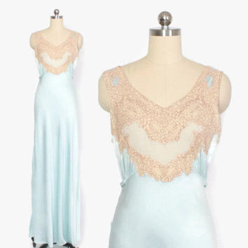 Vintage 40s NIGHTGOWN / 1940s Aqua Silk & Lace Full Length Bias Cut Slip Dress S - M