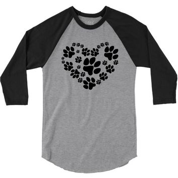 cat love paw 3/4 Sleeve Shirt