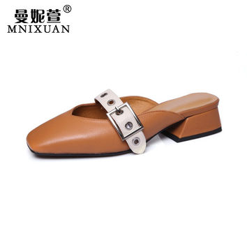 Handmade shoes for women leather genuine summer 2017 new mules shoes cover square toe black women shoes medium heels slippers