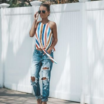 women chiffon blouse cute streetwear bow tie printed color striped shirt sleevelss blouse retro summer casual tops blusas