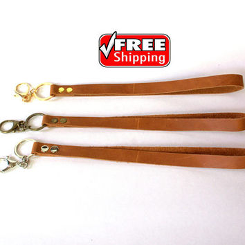 Free shipping !! Crazy vintage leather lanyard with metal clasp and top grain cognac crazy leather. Key holder, key fob. Free shipping !