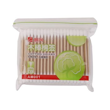 100Pcs Double Tips Wood Handle Cotton Swabs Applicator Makeup Tool White
