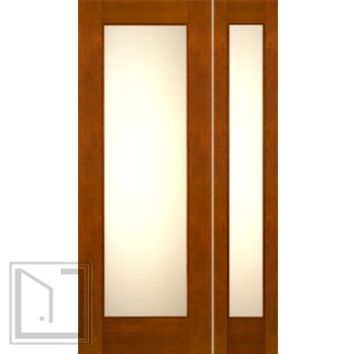 "Prehung 2-1/4"" Thick Contemporary Mahogany Door Sidelite Low-E Matte Glass"