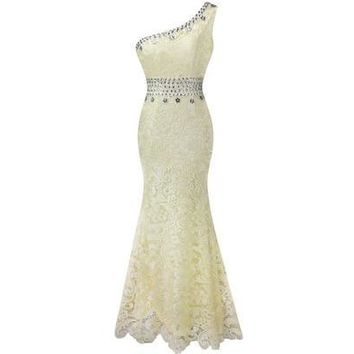 One Shoulder See Through Rhinestones Lace Full Length Evening Dress [7981684103]