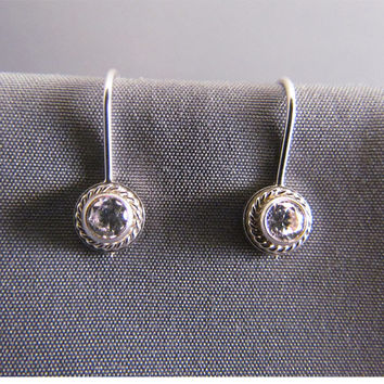 Vintage Style Sterling Silver Twisted Halo and Stone Earrings