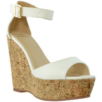 Womens Platform Wedge Embroidered Cork Sandals White