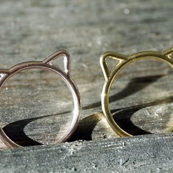 Gold and rose gold dainty tiny cute cat ears ring (RI00010)