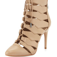 Bren Cutout Lace-Up Bootie, Nude