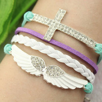 angel bracelet--cross wing pendant,silver charm bracelet,teal purple cord,white braid leather,MORE COLORS