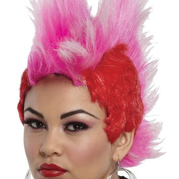 Double Mohawk Wig Red Hot Pink for Teens or Women