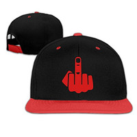KId Awesome Middle Finger Contrast Color Flat Bill Hat Red