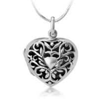 Chuvora Oxidized 925 Sterling Silver Open Filigree Heart Shaped Locket Necklace 18''