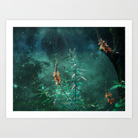 Fairy Flowers in the Jade Moonlight Art Print by minx267