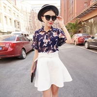 Blue Floral Print Ruffled Sleeve Chiffon Blouse and White Lace Skater Skirt
