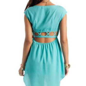 Teal/Turquoise Day Dress - Caged Mermaid Dress | UsTrendy