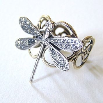 Steampunk Petite silver DRAGONFLY RING by chinookhugs on Etsy
