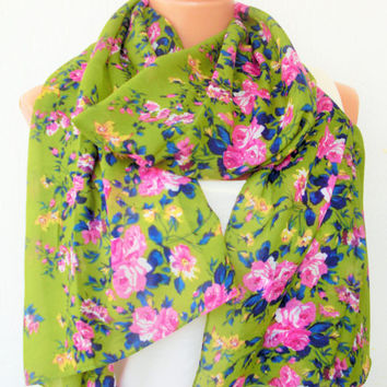 Floral Scarf ,Women Scarf ,  Green Summer Scarf ,  Mother's Day Gift,  Boho Scarf ,Fabric Scarf ,  Women fashion  Women  Accessories