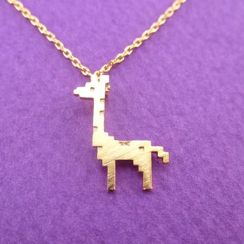 Adorable Pixel Baby Giraffe Shaped Pendant Necklace in Gold