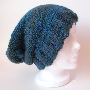 Knit Slouchy Beanie Hat for Adults and Teens, Blue Baggie Hat, Unisex Slouch Beanie, Spring Accessory, Peacock Blue Knit Hat, Grunge Beanie