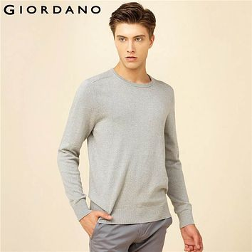 Giordano Men Sweater Solid Jacquard Cotton Sweater Round Neck Long Sleeves Plain Color Pullover Hombre Clothes Uomo Maglione