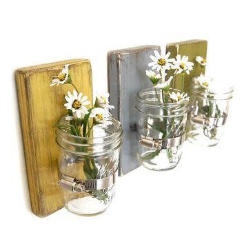 Shabby chic vases sconce mason jar wood vase wall by OldNewAgain