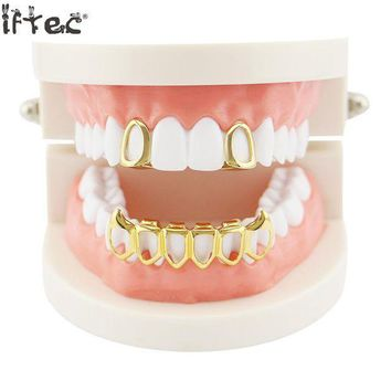 ac PEAPO2Q Iftec New Iced Out Hip Hop Grills Caps Micro Pave Cz 6 Open Hollow Grillz Top & Bottom Grill Set Men Women Mouth Teeth Grillz