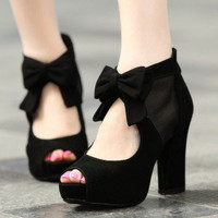 Fashion Black Elegant Bowknot Peep High Heel Shoes