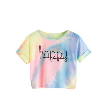 Tops and Tees T-Shirt ROMWE Happy Rainbow Pastel Tie Dye T-Shirt,Women Letter Print Tee,Beach-to-Bar,Night Club Party Short Crop T-shirts,2018 Summer AT_60_4 AT_60_4