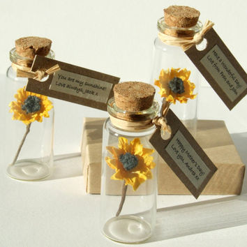 Tiny Sunflower In A Bottle With Personalised Message - sunflower birthday card - get well soon card - mother's day gift - sunshine card