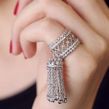 2015 haute couture big brand royal barque full zircon stones hollow wide long chain tassel tail ring for women accessories
