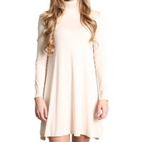 Cream Blush Piko Turtleneck Swing Dress