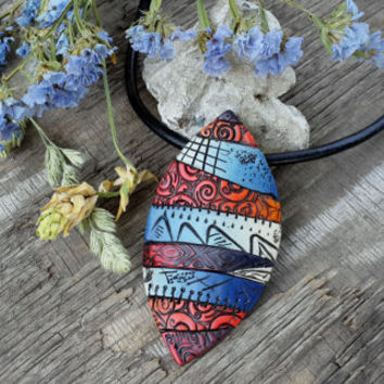 Abstract Pendant with polymer clay,  handmade jewelry,
