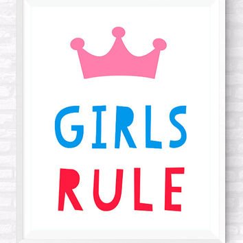 Girls Rule Printable Typographic Poster, Colorful Nursery Print, Girls Room Funny Quote, Kids Room Print, Pink and Red Wall Decor