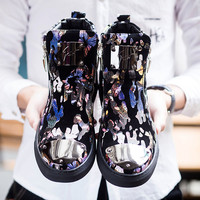 Europe Kanye bieber popular rivet new men's Justin  casual color shoes motorcycle  personalized printing hip-hop boots