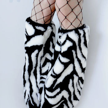 MADE TO ORDER Zebra Fluffy Leg Warmers fluffies furry bootcovers fuzzy boots black and white rave festival costume leggings