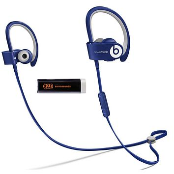 Beats by Dr. Dre Powerbeats 2 Wireless Cobalt Blue In-Ear Headphones Travel Bundle with Portable Charger