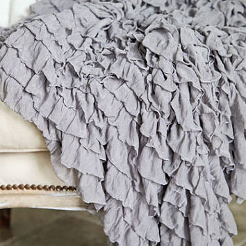 Soft Ruffled Throw Blanket Photography Prop by Shabbyfufu on Etsy