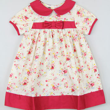 Lil Cactus Red Floral Toddler Girl Bow Dress Size:5