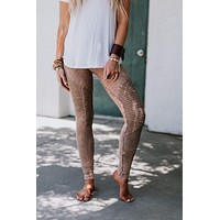 Rock + Roll Moto Knee Jeggings - Mushroom