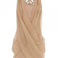 Off-white Formal Dress - Nude Sleeveless Dress with Chiffon | UsTrendy