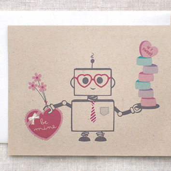 Nerdy Valentine's Day Card or Art Print - Kawaii, Cute, Painted Robot Card, Ecofriendly - I Only Write Code in X's and O's