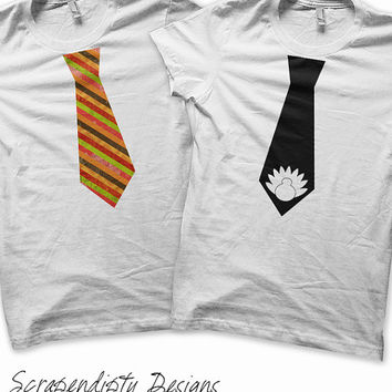 Thanksgiving Iron on Transfer - Iron on Boys Tie Shirt / Toddler Thanksgiving Outfit / Tie Turkey Shirt / Kids Stripe Tie Tshirt T92T-C