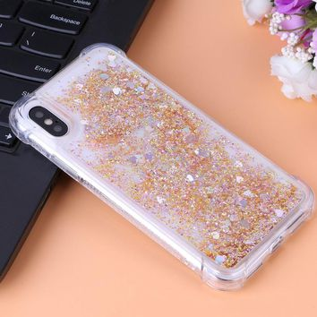 For Fundas iPhone X Case  Luxury Glitter Liquid Quicksand Soft TPU Shockproof Protective Phone Case Cover for iPhone X Shell