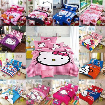 New Bedding Cartoon Hello Kitty cut Mouse 4pcs/3pcs Duvet Cover Sets Soft Polyester Bed Linen Flat Bed Sheet Set Pillowcase