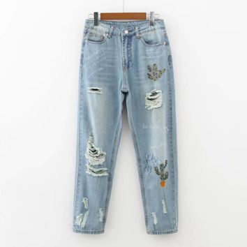 Fashion cactus embroidery washed  Nine points  jeans