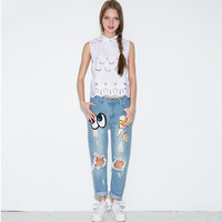Denim Cartoon Embroidered Frayed Pants