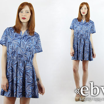 Secretary Dress Day Dress Graphic Dress Work Dress Vintage 80s Blue Graphic  Mini Dress M L Blue Dress