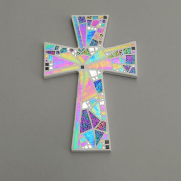 "Mosaic Wall Cross, Large, White with Iridescent Glass + Silver Mirror,  Handmade Stained Glass Mosaic Cross Wall Decor, 15"" x 10"""